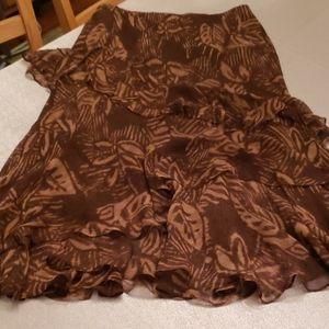 Ralph Lauren brown print layered midi-skirt (M)